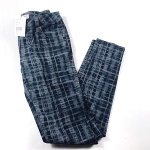 Cabi Blue Grid Stretchy Skinny Pants Size 2